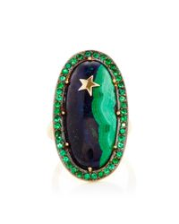 Andrea Fohrman - Green One Of A Kind Malachite & Lapis Ring With Emeralds With Yellow Gold Star - Lyst