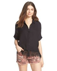 Lush | Black Crochet Trim Short Sleeve Blouse | Lyst