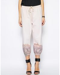 BCBGeneration - White Jogger Pant with Paris Scene - Lyst