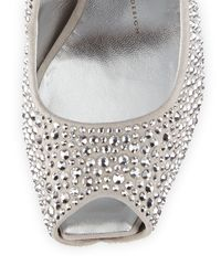 Giuseppe Zanotti | Gray Peep-Toe Crystal Platform Pump | Lyst