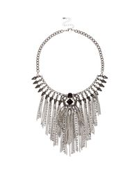 River Island | Metallic Silver Tone Tassel Statement Necklace | Lyst