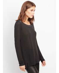 Vince - Black Metallic Trim Long Sleeve Crew Neck Tee - Lyst