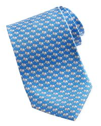 Ferragamo | Lionprint Silk Tie Blue for Men | Lyst