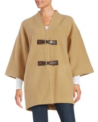 MICHAEL Michael Kors | Natural Buckled Wool Topper | Lyst