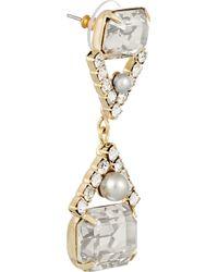 Elizabeth Cole - Metallic Gold-tone Swarovski Crystal Earrings - Lyst