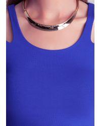 Bebe - Blue Cold Shoulder Slit Crop Top - Lyst
