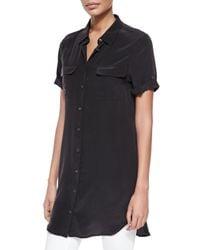 Equipment - Black Signature Slim Short-sleeve Shirtdress - Lyst