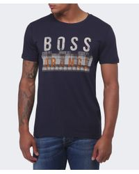BOSS Orange - Blue Taiwo Graphic Logo T-shirt for Men - Lyst