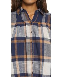 Free People - Blue Peppy In Plaid Button Down - Navy Combo - Lyst