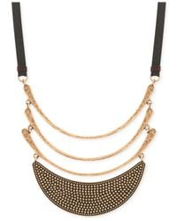 Lucky Brand | Metallic Gold-tone Leather Curved Multi-pendant Necklace | Lyst