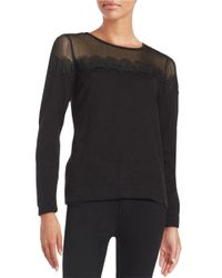 Vince Camuto | Black Petite Lace Accented Sweater | Lyst