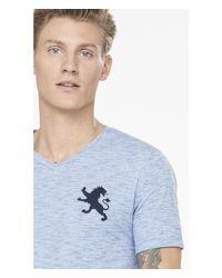 Express - Blue Large Lion Slub Stripe V-neck Tee for Men - Lyst