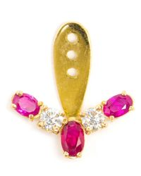 Yvonne Léon | Red Diamond And Ruby Lobe Earring | Lyst