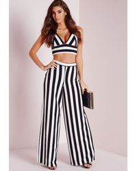 Missguided Striped Wide Leg Pants White in Black | Lyst