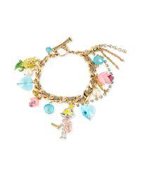Betsey Johnson - Metallic Antique Goldtone Knight Charm Toggle Bracelet - Lyst