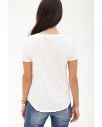 Forever 21 - White Contemporary Slub Jersey V-neck Tee - Lyst
