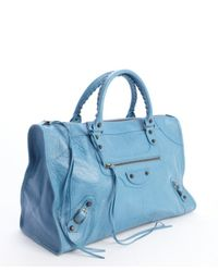 Balenciaga - Blue Lambskin Large Work Bag - Lyst