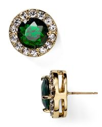 kate spade new york - Green Basket Pave Stud Earrings - Lyst