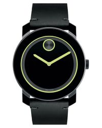 Movado - Black 'bold' Leather Strap Watch for Men - Lyst