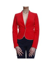 Armani Jeans | Red Suit Jacket Jacket 1 Button Crepes Con Piping | Lyst