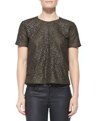 Belstaff - Green Short-sleeve Coated Lace Top - Lyst