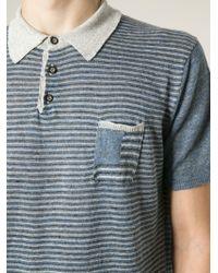 Roberto Collina - Blue Striped Polo Shirt for Men - Lyst