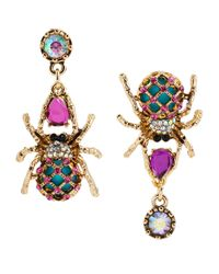 Betsey Johnson | Multicolor Crystallized Multi Color Spider Mismatch Earrings | Lyst