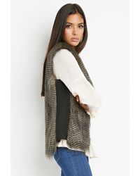 Forever 21 - Gray Side-paneled Faux Fur Vest - Lyst