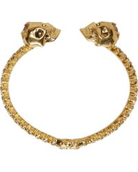 Alexander McQueen - Metallic Gold And Crystal Studded Skull Cuff - Lyst