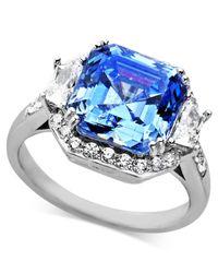 Arabella - Metallic Blue And White Swarovski Zirconia Princess Cut Ring (10 Ct. T.w.) - Lyst