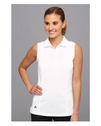 Adidas Originals   White Solid Jersey Sleeveless Polo '15   Lyst