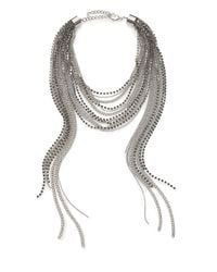 ABS By Allen Schwartz - Metallic Beaded Multi-row Chain Necklace - Lyst