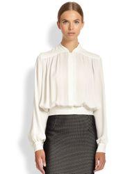 Tamara Mellon - White Cropped Silk Blouse - Lyst