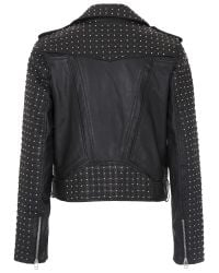 French Connection - Black Chaos Leather Biker Jacket - Lyst