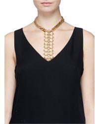 Ela Stone | Metallic 'celia' Box Chain Pearl Necklace | Lyst