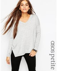 ASOS - Gray Jumper With V Neck - Lyst