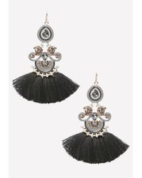 Bebe | Black Tassel Fringe Earrings | Lyst