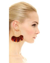 Gas Bijoux - Metallic 'buzios' Feather Hoop Earrings - Lyst