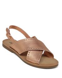 Lucky Brand | Metallic Slingback Flat Sandals | Lyst