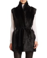 Vince - Black Suede and Shearling Vest  - Lyst