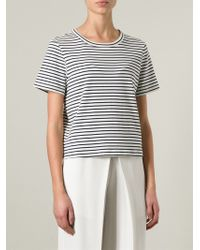 Theory | White Horizontal Stripe T-Shirt | Lyst