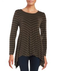 Vince Camuto | Brown Pin Striped Jersey Boatneck Top | Lyst
