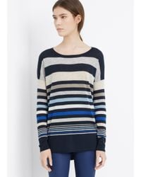 VINCE | White Super Lightweight Variegated Stripe Sweater | Lyst