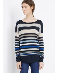 Vince - White Super Lightweight Variegated Stripe Sweater - Lyst