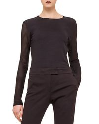 Akris Punto - Black Contrast Net-sleeve Jersey Top - Lyst