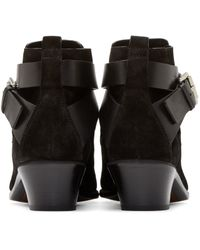 CoSTUME NATIONAL | Black Suede Buckle Boots | Lyst