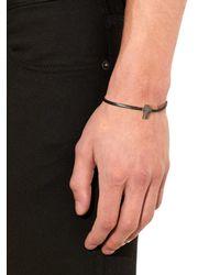 Saint Laurent - Black Cross Charm Leather Bracelet for Men - Lyst