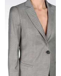 Emporio Armani - Gray Runway Micro Patterned Long Jacket - Lyst