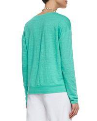 Eileen Fisher - Blue Linen Jersey Box Top - Lyst