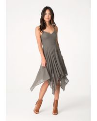 Bebe - Green Flame Stitch Knit Dress - Lyst